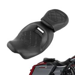 Black Pu Leather Driver Passenger Seat Fit For Harley Street Road Glide 09-21 18