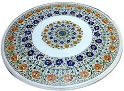 42 Inches Marble Dining Table Top Multi Color Stone Inlaid Work Conference Table