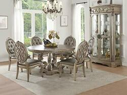 Acme Dining Table, Antique Silver