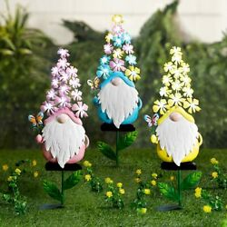 Solar-lighted Flower Garden Gnome Butterfly Yard Lawn Outdoor Art - Multicolor