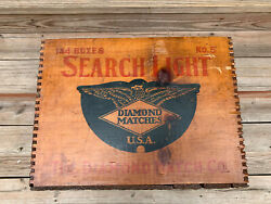 Vintage Wooden Shipping Crate Search Light Diamond Matches Wood Match Box