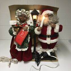 Vtg African American/black 19 Animated Mr And Mrs Santa Clause W/ Lamp Working