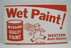 Western Auto Stores Wet Paint Old Sign Wizard Quality Paint Painter W Brush