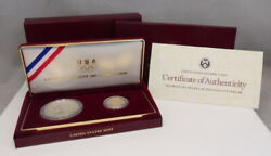 1988 Us Mint 1 Silver 5 Gold Olympic Proof 2 Coin Commemorative Set W/ Box Coa