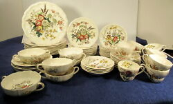 Vintage Copeland Spode Gainsborough Floral China Great Britain Service For 10