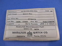 Hamilton Nos Balance Complete 987a Ord Military 1952 In The Package