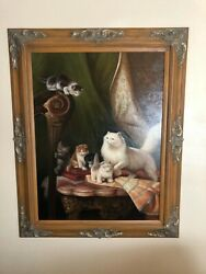 B Vouman Original Oil Painting Of Cats And Kittens Large 50.5 X 40.25