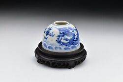 Signed Chinese Kangxi Period Porcelain Brush Pot With Dragon And Wood Stand