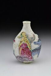 Chinese Famille Rose Porcelain Snuff Bottle With Animals 18th Century