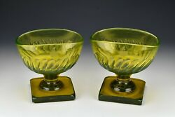 Rare Pair Of English Vaseline Glass Footed Bowls With Engraved Armorials