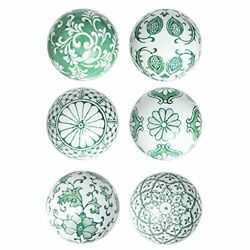 Green Porcelain Orbs Decorative Balls - Small Ceramic Spheres For Centerpiece...