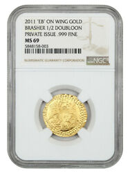 1787 Brasher Half Doubloon Ngc Ms69 2011 Restrike, Eb On Wing