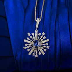 1.3ct Sapphire Snowflake Engagement Wedding Pendant Without Chain 14k White Gold