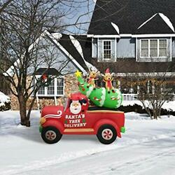 Fraser Hill Farm 8-ft. Long Inflatable Christmas Tree In A Pick-up Truck With...