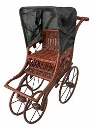 Vintage Antique Wicker Wood Canvas Pram Doll Baby Carriage Buggy Stroller Toy