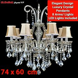 New Elegant 8 Arms/lights Hq Crystal Pendants Chandelier With Shades+led Lights✔