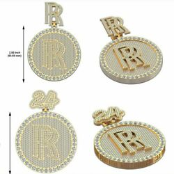 Menand039s Customized Round Disk Set Of 2 Pendant In 3 Ct Round Sim Diamond Silver