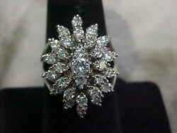 Antique1920's Natural Diamond Cluster Ring 14k White Gold Sz7.75 Buy Now