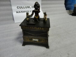 Cast Iron Mechanical Organ Bank With Cat And Dog Cira 1882 Kyser And Rex 1882 Used