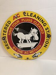 Porcelain Ac Spark Plugs Cleaning Staion Gas And Oil Sign