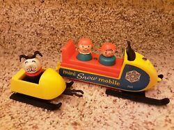 Snowmobile 705 Complete Black Skis With Sled Vintage Fisher Price Little People