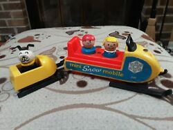 Vintage Snowmobile 705 Wood Figures Fisher Price Little People