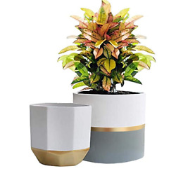 White Ceramic Flower Pot Garden Planters 6.5quot; Pack 2 Indoor Plant Containers wit