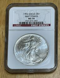 1992 Silver Eagle Ngc Ms70 First Strike Low Pop 66