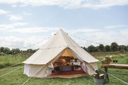 Us Ship Outdoor Glamping 5m Camping Canvas Bell Tent With Zipped Pvc Groundsheet