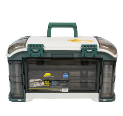 Plano Outdoor Sports Angled Fishing Tackle Box Storage System Green / Tan 11.5