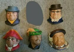 Vintage Lot Of 5 Chalkware Heads - Marked Made In England