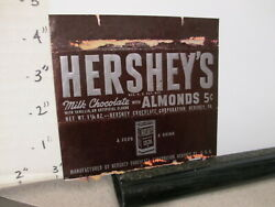 Candy Bar Wrapper 1940s Hershey's Chocolate Almonds 1.25 Oz 5 Cents Cocoa Can