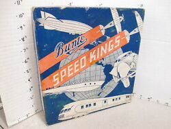 Candy Box 1930s Bunte Speed Kings Zeppelin Airplane Auto Train Store Display