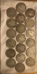 10 Fv 40 Silver Barber Quarters. P/d/s/o Mixed Dates All Readable. 1892-1916.