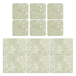 Pimpernel Marigold Floral Flower Green Dining Placemats 12 X 9 And Coasters 4