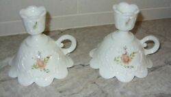 Hand Painted White Milk Glass Peach Pink Roses Candle Holders Pair By Stevens