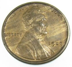 1909 Vdb Lincoln Wheat Cent Penny 1c Uncirculated Toned Wood Grain
