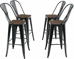 4pcs Bar Stools Metal Dining Chairs Solid Wood Surface W/ Removable Backrest30