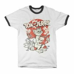Menand039s Tom And Jerry Vintage Comic Ringer T-shirt