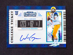 2019 Contenders Draft Picks - Will Grier - Rookie Auto College Ticket Ssp /15