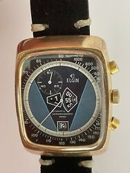 Swiss Elgin Jump Hour Chronograph Mens Automatic Watch Cal 1376 Service