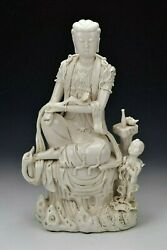 Signed Chinese Blanc De Chine Porcelain Statue Kwan Yin And Child 19th Century