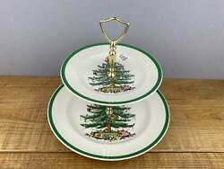 2-tierspode Christmas Tree Around Serving Tray With Handle England Vintage
