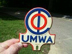 Vtg Nos 50s Umwa Trade Union Mine Worker License Plate Topper Coal Gas Sign Oil