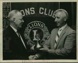 1969 Press Photo Lions Club Officials Pose With Bell At Ceremony In New York