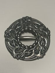 Antique Marius Hammer Norway 830 Silver Celtic Dragestil Buckle Style Brooch Pin