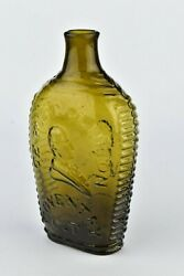 Lafayette And Dewitt Clinton Coventry Ct Pint Flask Gi - 80 Scarce Mold