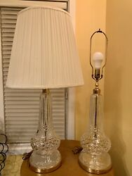 Pair Of Waterford Giftware Fine Cut Crystal Electric Table Lamps - Mint