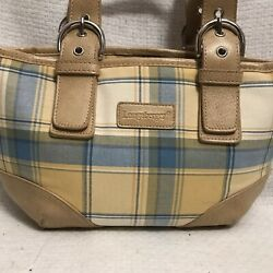Longaberger Plaid Pastel Purse With Matching Wallet, Checkbook Cover, Pen