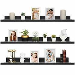36 Inch Floating Shelves for Wall Set of 3 in Modern Rustic 36#x27;#x27; Ebony Black